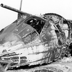 Fire damaged Royal Air Force Handley Page Victor K1A (XH560) formerly of 214 Squadron on the fire dump, RAF Manston airfield, United Kingdom 1982