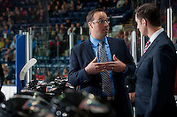 KELOWNA, CANADA - OCTOBER 23: Kris Mallette, Assistant coach of the Kelowna Rockets discusses a play with head coach Brad Ralph on the bench against the Prince George Cougars on October 23, 2015 at Prospera Place in Kelowna, British Columbia, Canada.  (Photo by Marissa Baecker/Shoot the Breeze)  *** Local Caption *** Kris Mallette; Brad Ralph