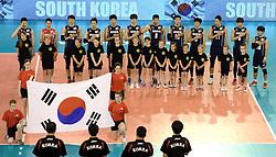 01-06-2014 NED: WLV Nederland - Zuid Korea, Eindhoven<br /> Line up bij Nationale volkslied van Zuid Korea