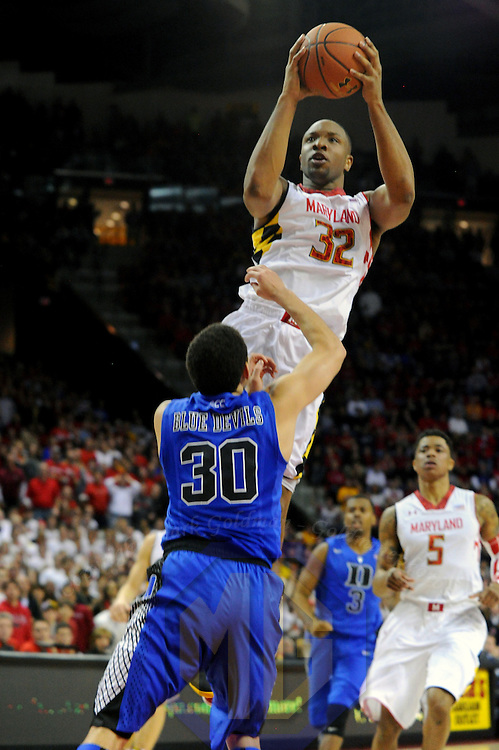 16 February 2013:   Maryland Terrapins guard/forward Dez Wells (32) in action against Duke Blue Devils guard Seth Curry (30) at the Comcast Center in College Park, MD. where the Maryland Terrapins upset the second ranked Duke Blue Devils, 83-81.