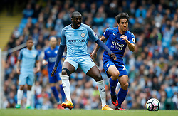 Yaya Toure of Manchester City and Shinji Okazaki of Leicester City - Mandatory by-line: Matt McNulty/JMP - 13/05/2017 - FOOTBALL - Etihad Stadium - Manchester, England - Manchester City v Leicester City - Premier League