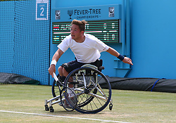 June 23, 2018 - London, England, United Kingdom - Alfie Hewett (GBR ) in action..during Fever-Tree Championships  Wheelchair Event match between Alfie Hewett (GBR ) against Stefan Olson (SWE) at The Queen's Club, London, on 23 June 2018  (Credit Image: © Kieran Galvin/NurPhoto via ZUMA Press)
