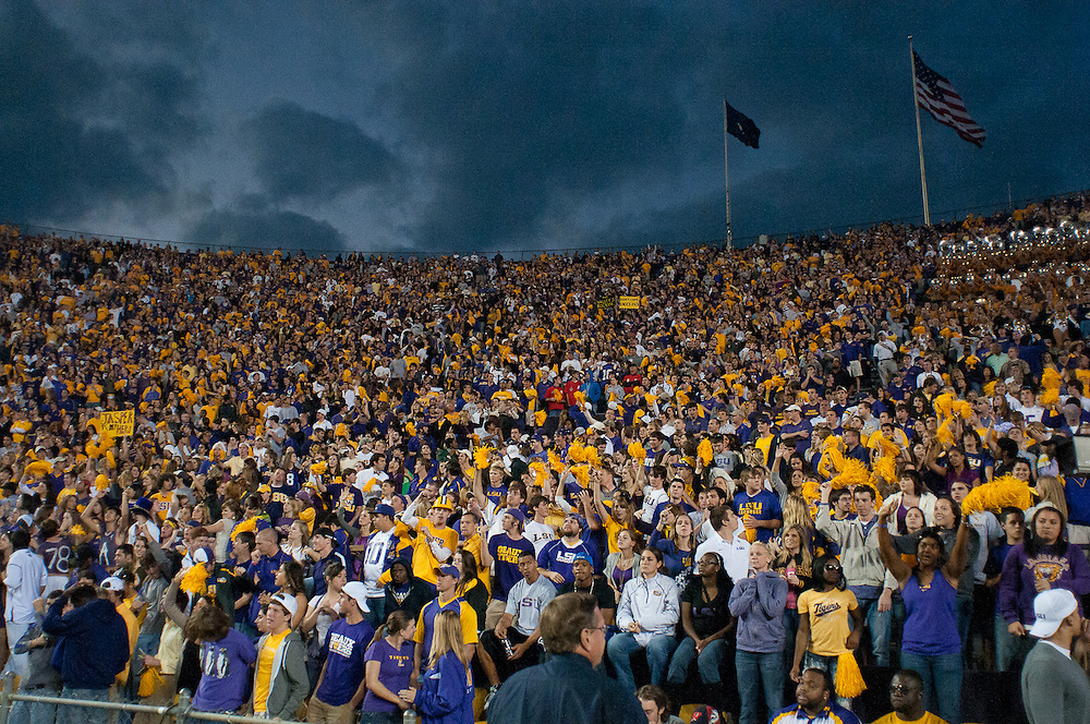 LSU Tigers student body celebrating LSU Tigers quarterback Jordan Jefferson (9) touchdown during the second half of the football game. LSU Tigers defeated Mississippi Rebels 43-36.