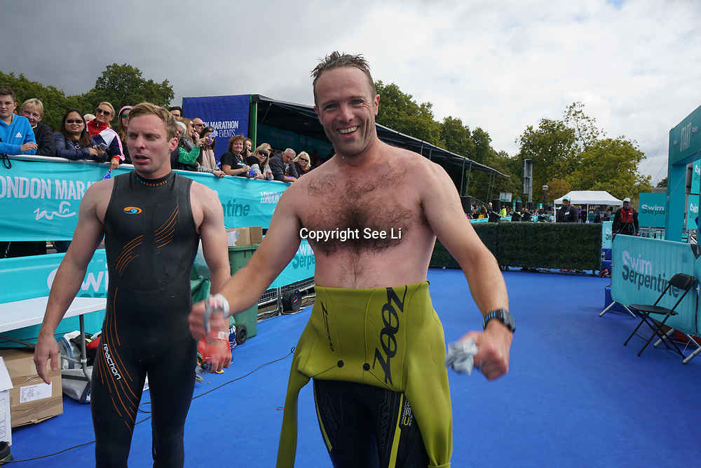 London, England, UK. 16th September 2017. Terry Bonnett first man winner - Swim Serpentine the London Classics 2 miles at Serpentine lake.