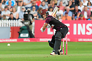 Tom Abell of Somerset plays an attacking shot during the Vitality T20 Blast South Group match between Somerset County Cricket Club and Middlesex County Cricket Club at the Cooper Associates County Ground, Taunton, United Kingdom on 30 August 2019.