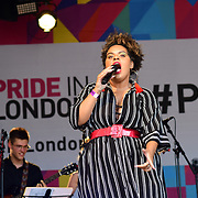 London, England, UK. 7th July 2018. London Gay Big Band & Soloists performs at the Pride parade in Trafalgar Square, London, UK on 7th July 2018.