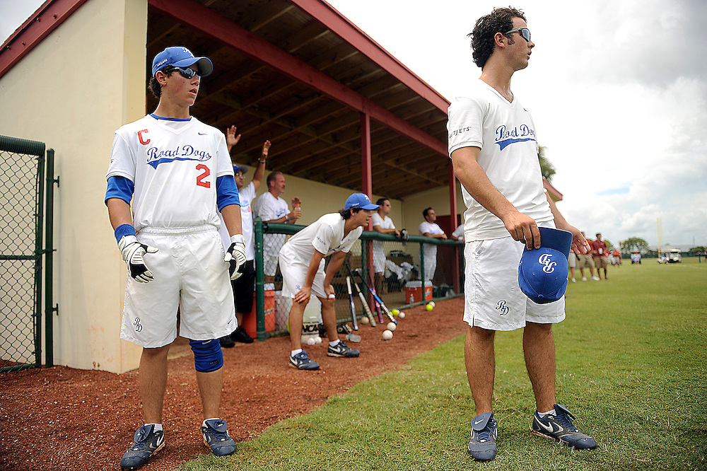 "AUGUST 19, 2009 BOCA RATON FLORIDA- Nick Jonas, from left, Joe Jonas, and Kevin Jonas, of the Jonas Brothers, cheer on their team during their softball game against the Marquis Flyers. The Jonas Brothers and their team, the ""Road Dogs"" took part in the softball game which was being held by Marquis Jet at the Saint Andrews School in Boca Raton, Fla. Marquis Jet has held 9 other softball games around the country as their company team the ""Marquis Flyers"" competes in for fun games against various teams. PHOTO BY JOSH RITCHIE"
