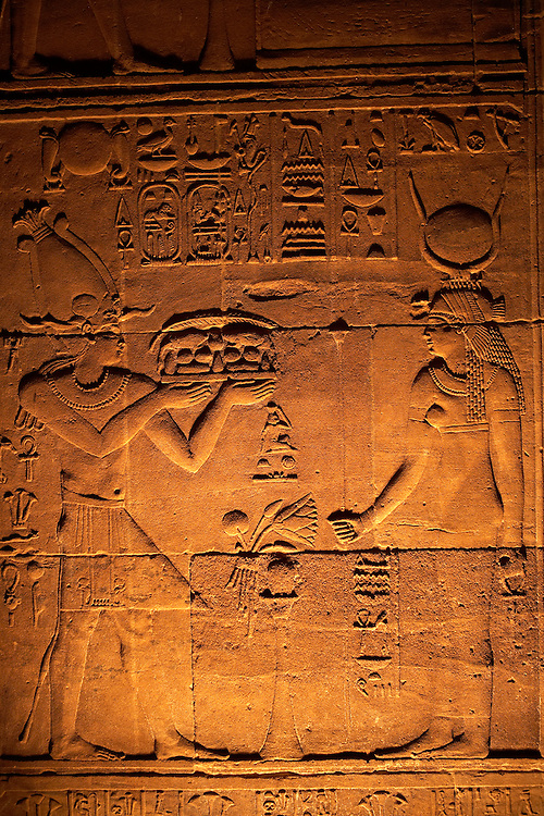 Detail of relief at Temple of Philae on the River Nile, Aswan, Egypt
