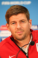 Steven Gerrard of England smiles during the England press conference at Arena da Amazonia, Manaus, Brazil.<br /> Picture by Andrew Tobin/Focus Images Ltd +44 7710 761829<br /> 13/06/2014