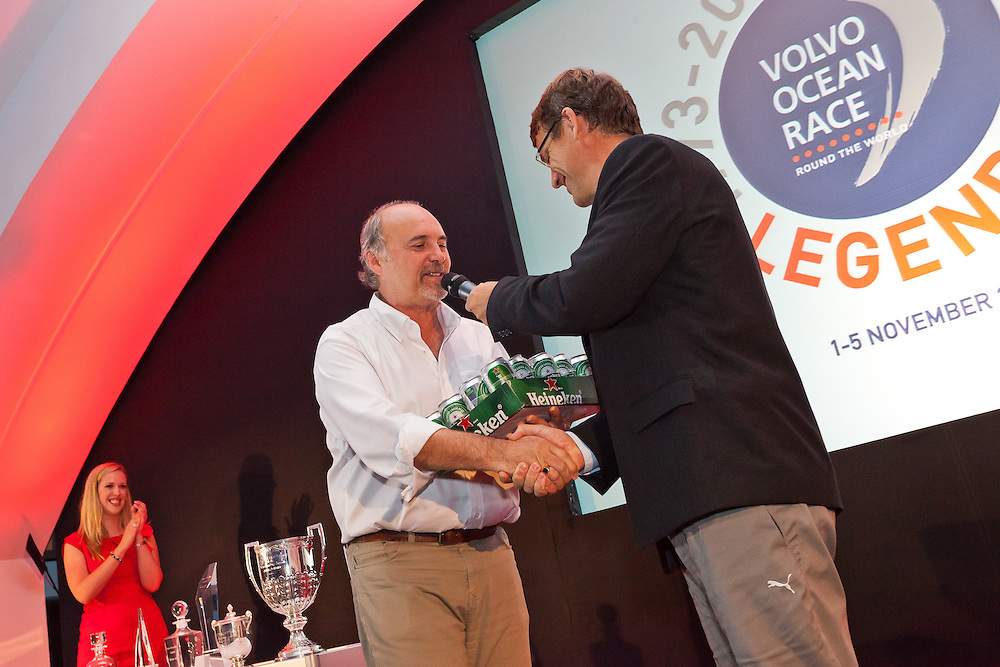 SPAIN, Alicante. 3rd November 2011. Volvo Ocean Race Legends Regatta Prizegiving. Howard Gibbons and Knut Frostad.