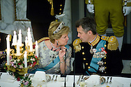 15.04.2015. Copenhagen, Denmark.Anne-Marie of Greece and Crown Prince Frederik during a Gala Dinner at Christiansborg Palace on the eve of The 75th Birthday of Queen Margrethe of Denmark.Photo:© Ricardo Ramirez