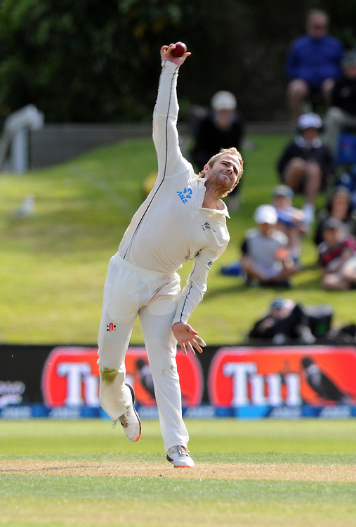 New Zealand's Kane Williamson bowls the 2nd to last over against Sri Lanka on day two of the first International Cricket Test, University Cricket Oval, Dunedin, New Zealand, Friday, December 11, 2015.Credit:SNPA / Ross Setford