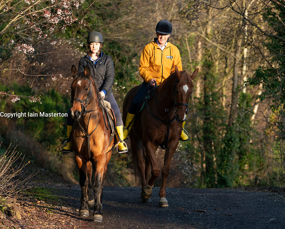 """Lasswade, Scotland, UK. 28th November 2019. Liberal Democrats  highlight """"two horse race in many seats"""" at Lasswade horse riding school. Scottish Liberal Democrat Leader Willie Rennie and candidate for Berwickshire, Roxburgh & Selkirk, Jenny Marr, visited the Lasswade riding centre to highlight the Lib Dems' place as the lead contender in many seats across Scotland. Iain Masterton/Alamy Live News."""