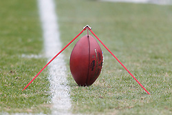 Dec 18, 2011; Oakland, CA, USA; Detailed view of a football on a kicking stand before the game between the Oakland Raiders and the Detroit Lions at O.co Coliseum. Detroit defeated Oakland 28-27. Mandatory Credit: Jason O. Watson-US PRESSWIRE