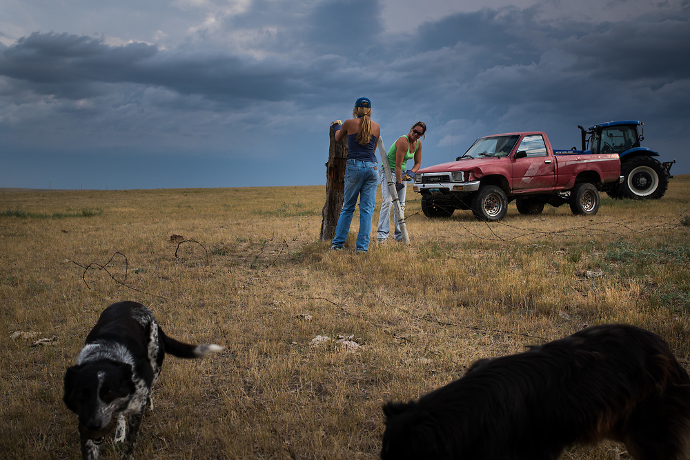 Jamie Hepper and Aiyana Byrd south of Meadow, SD on August 1, 2017.