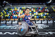 UNITED KINGDOM, London: 2015 World Wheelchair Rugby Challenge. Caption: Great Britain's Ayaz Bhuta. Aya was born with Roberts Syndrome, a rare genetic disorder that effects the growth of bones in the arms and legs. Rick Findler / Story Picture Agency