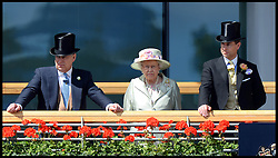 Image ©Licensed to i-Images Picture Agency. 18/06/2014. Ascot, United Kingdom. HM The Queen with Prince Andrew and Prince Edward watch the race horse's in the parade ring for 3rd race The Prince of wales Stakes on Day 2 of Royal Ascot at Ascot Racecourse. Picture by Andrew Parsons / i-Images
