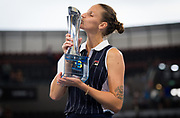 Karolina Pliskova of the Czech Republic with the champions trophy after winning the final of the 2020 Brisbane International WTA Premier tennis tournament - Photo Rob Prange / Spain ProSportsImages / DPPI / ProSportsImages / DPPI