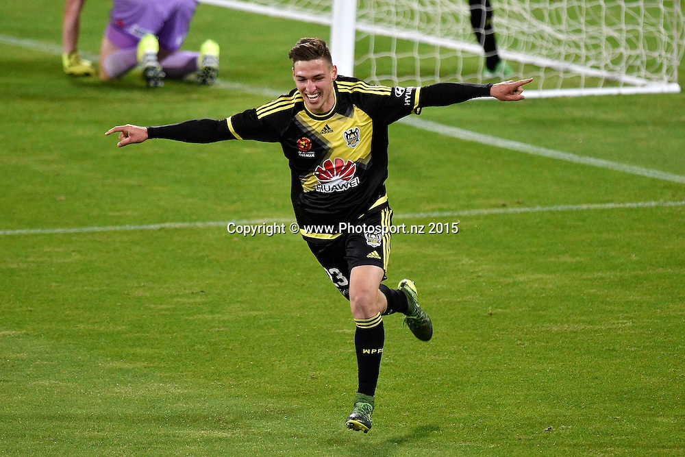 Mathew Ridenton of the Phoenix celebrates a goal during the A-League - Wellington Phoenix v Adelaide football match at Westpac Stadium in Wellington on Sunday the 13th of November 2015. Copyright Photo by Marty Melville / www.Photosport.nz