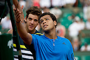 Paris, France. June  1st 2009. .Roland Garros - Tennis French Open. .Juan Martin Del Potro (left) won against Jo Wilfried Tsonga