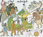 Battle between Nuno de Guzman and his native Tlazcalan allies against inhabitants of Michuacan. Centre: a chief (Xicotencati?) carrying Tlzatian badge accompanied by war dogs. Copy of drawings of Lienzo de Tiazcala lost during revolution in 19th century