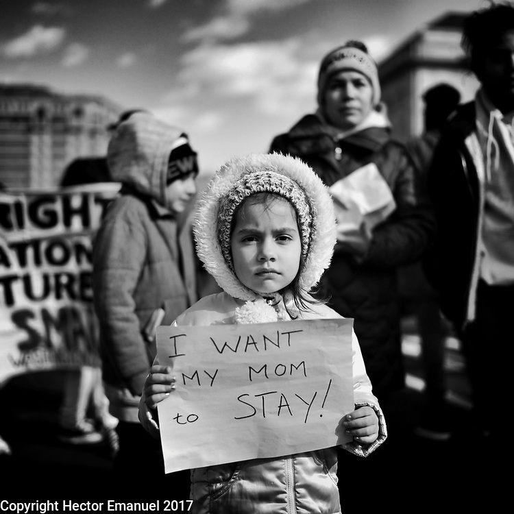 Five year old girl from Maryland during A Day Without an Immigrant (Un Dia Sin Inmigrantes) protest. February 16th, 2017 Washington DC