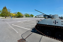 Empty carpark at Tank Museum Wareham on 75th anniversary of VE Day - closed due to Coronavirus lockdown. UK 8 May 2020