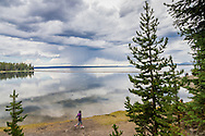 Yellowstone Lake in August in Yellowstone National Park, Wyoming.