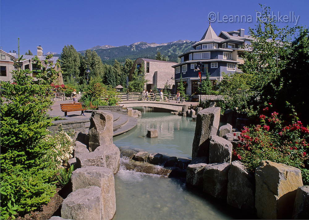Village park stream runs through Whistler Village in the summer.
