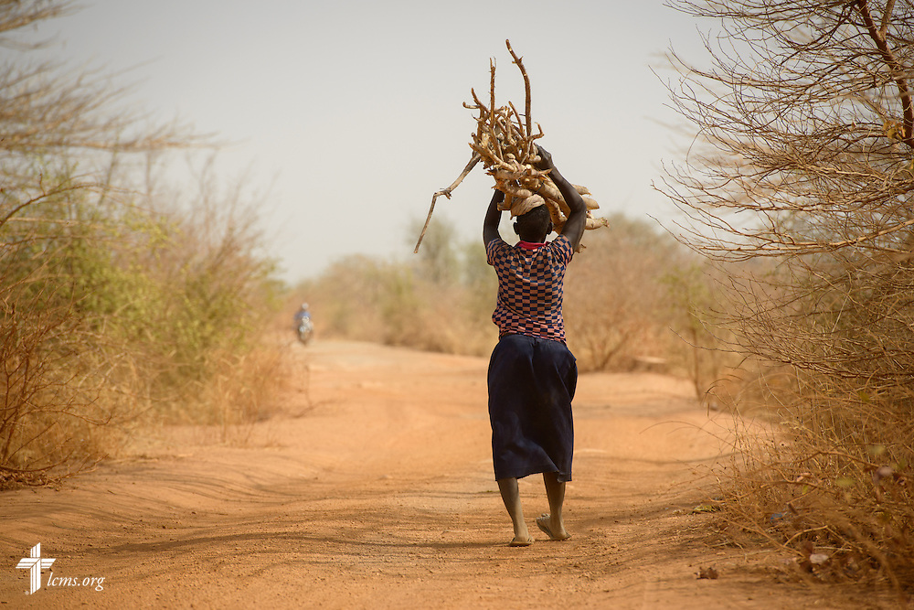A woman carries a load of sticks on a rural roadway on Monday, Feb. 13, 2017, in Togo. LCMS Communications/Erik M. Lunsford