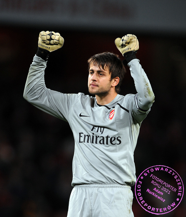 Lukasz Fabianski Celebrates after the final whistle.Arsenal 2008/09 .Arsenal V Wigan Athletic (3-0) 11/11/08.The Carling Cup.Photo Robin Parker Fotosports International