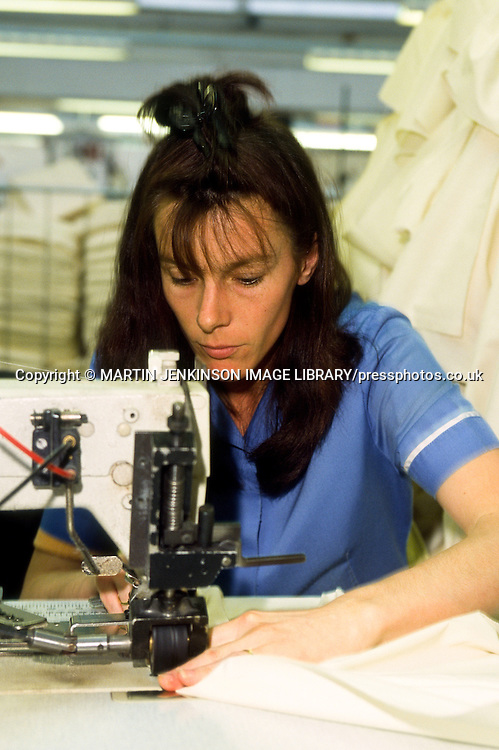 Female sewing machinist at work
