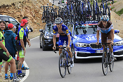 James Knox (GBR) Deceuninck-Quick Step and Geoffrey Bouchard (FRA) AG2R La Mondiale on the final Cat 1 climb up to Observatorio Astrofisico de Javalambre during Stage 5 of La Vuelta 2019 running 170.7km from L'Eliana to Observatorio Astrofisico de Javalambre, Spain. 28th August 2019.<br /> Picture: Eoin Clarke | Cyclefile<br /> <br /> All photos usage must carry mandatory copyright credit (© Cyclefile | Eoin Clarke)