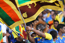 © Licensed to London News Pictures. 08/03/2012. Adelaide Oval, Australia. A Sri Lankan fan in costume waves the Sri Lankan flag during the One Day International cricket match final between Australia Vs Sri Lanka. Photo credit : Asanka Brendon Ratnayake/LNP