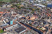 Nederland, Groningen, Gemeente Oldambt,  01-05-2013; centrum Winschoten met links winkelcentrum 't Rond aan Vissersdijk en Israelplein, recht Marktplein met Grote Kerk (Marktpleinkerk), de toren 'Olle Witte'.<br /> Small provincial town, marketplace, regional centre (northeast Holland).<br /> luchtfoto (toeslag op standard tarieven);<br /> aerial photo (additional fee required);<br /> copyright foto/photo Siebe Swart