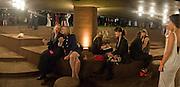 BAY GARNETT; SOPHIE DAHL; JASMINE GUINNESS, Panorama of Serpentine Summer party 2012 sponsored by Leon Max. Pavilion designed by Herzog & de Meuron and Ai Weiwei. Kensington Gardens. London. 26 June 2012.