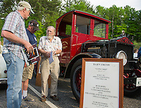 "Ted Valpey tells folks about ""Barn Fresh"" Ford built in Concord in 1923 during the Cruise Night held at Gilford Community Center on Thursday evening.  (Karen Bobotas/for the Laconia Daily Sun)"
