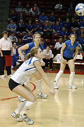 24 November 2006: Katie Mehal digs out a serve during a Semi-final match between the Creighton University Bluejays and the Northern Iowa University Panthers. The Tournament was held at Redbird Arena on the campus of Illinois State University in Normal Illinois.<br />