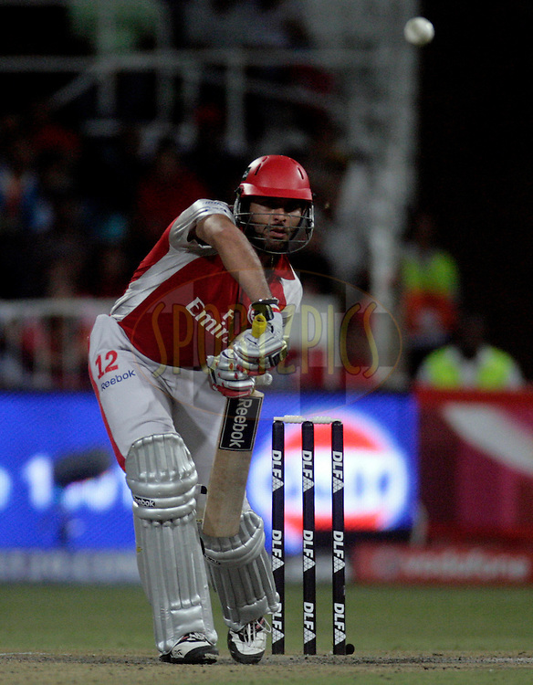 DURBAN, SOUTH AFRICA - 1 May 2009. Yuvraj Singh plays a shot during the IPL Season 2 match between Kings X1 Punjab and the Royal Challengers Bangalore held at Sahara Stadium Kingsmead, Durban, South Africa...
