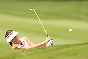 March 27, 2005; Rancho Mirage, CA, USA;  Grace Park hits out of a bunker on the 9th hole during the final round of the LPGA Kraft Nabisco golf tournament held at Mission Hills Country Club.  Park finished the day with a 5 under par 67 and finished tied for 5th with an overall score of 4 under par 284.<br />Mandatory Credit: Photo by Darrell Miho <br />&copy; Copyright Darrell Miho