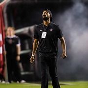 15 September 2018: San Diego State alumni Demarco Sampson leads the team onto the field prior to taking the Arizona State Sun Devils. The Aztecs beat the Sun Devils 28-21 at SDCCU Stadium in San Diego, California.
