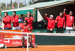 Team Turkey celebrating during Davis Cup 2018 Europe/Africa zone Group II between Slovenia and Turkey, on April 8, 2018 in Portoroz / Portorose, Slovenia. Photo by Vid Ponikvar / Sportida
