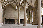 Double fireplace at the western end of The Guest Chamber, one of the three dining halls lying one above the other at the Merveille (Marvel), 13th century, thanks to a donation by the king of France, Philip Augustus who offered Abbot Jourdain, a grant for the construction of a new Gothic-style architectural set, Le Mont Saint Michel, Manche, Basse Normandie, France. Picture by Manuel Cohen