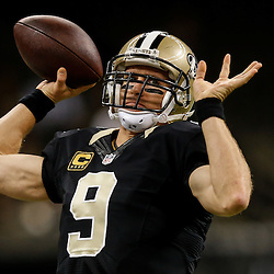 Nov 16, 2014; New Orleans, LA, USA; New Orleans Saints quarterback Drew Brees (9) prior to kickoff of a game against the Cincinnati Bengals at the Mercedes-Benz Superdome. Mandatory Credit: Derick E. Hingle-USA TODAY Sports