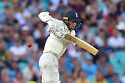 Jack Leach of England is tested by a bouncer during the 5th International Test Match 2019 match between England and Australia at the Oval, London, United Kingdom on 14 September 2019.