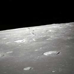 This high forward oblique view of Rima Ariadaeus on the moon was photographed by the Apollo 10 crew in May, 1969. Center point coordinates are located at 17 degrees, 5 minutes east longitude and 5 degrees, 0 minutes north latitude. The Apollo 10 crew aimed a hand-held 70mm camera at the surface from lunar orbit for a series of images of this area. .Photo by NASA via CNP /ABACAPRESS.COM