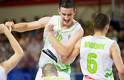 Alen Omic of Slovenia and Jaka Brodnik of Slovenia during basketball match between National team of Slovenia and Italy in First Round of U20 Men European Championship Slovenia 2012, on July 12, 2012 in Domzale, Slovenia.  Slovenia defeated Italy 81-68. (Photo by Vid Ponikvar / Sportida.com)