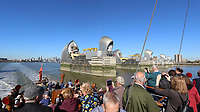 The Thames Barrier, Onboard Paddle Steamer Waverley, River Thames, London, UK, 27 September 2018, Photo by Richard Goldschmidt