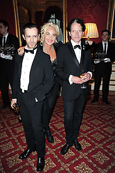 Left to right, KINDER AGGUGINI, AMANDA ELIASCH and TIM WILLIS at a dinner hosted by HRH Prince Robert of Luxembourg in celebration of the 75th anniversary of the acquisition of Chateau Haut-Brion by his great-grandfather Clarence Dillon held at Lancaster House, London on 10th June 2010.