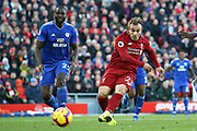 Liverpool midfielder Xherdan Shaqiri (23) scores the third Liverpool goal 3-0 during the Premier League match between Liverpool and Cardiff City at Anfield, Liverpool, England on 27 October 2018.